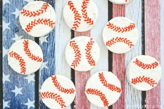 Easy Buttercream Baseball Cookies - A step-by-step tutorial! | JavaCupcake.com