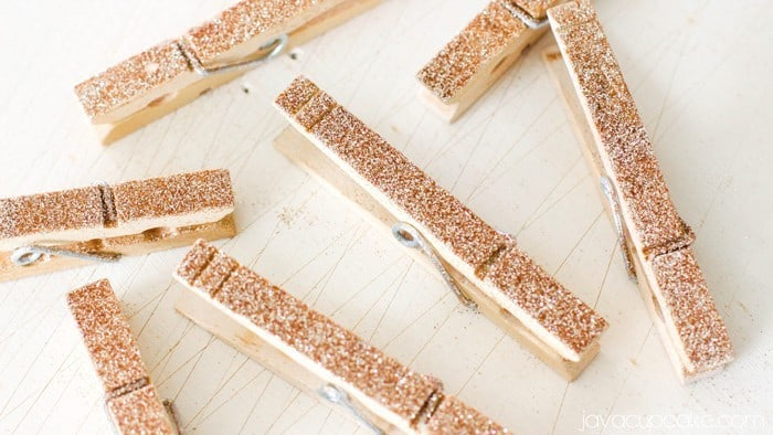 DIY Glitter Clothespins - Tutorial & Video | JavaCupcake.com