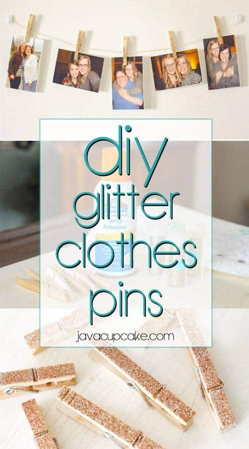 DIY Glitter Clothes Pins - Tutorial & Video | JavaCupcake.com