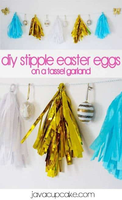 DIY Stipple Easter Eggs on a Tassel Garland | JavaCupcake.com