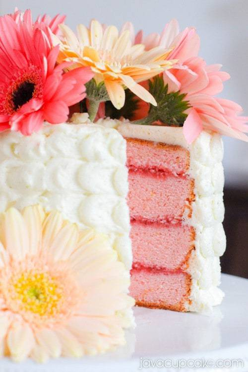 Strawberry Lemon Cake with Spring Flowers | JavaCupcake.com