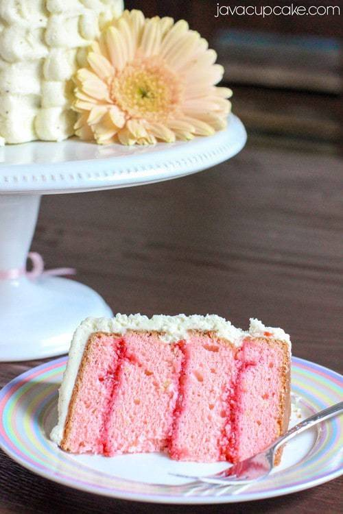 Strawberry Lemon Cake with Spring Flowers | JavaCupcake.com