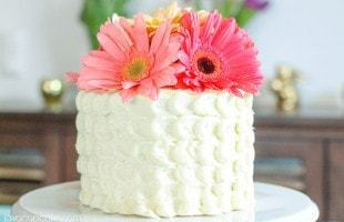 Strawberry Lemon Cake with Spring Flowers