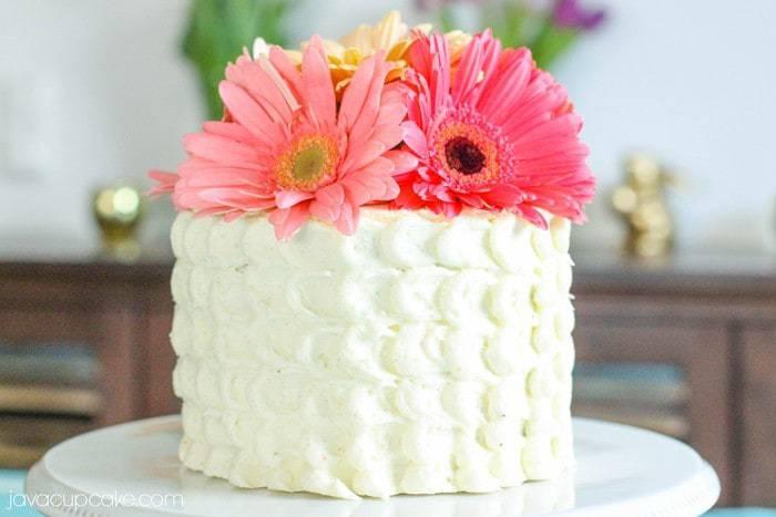 Strawberry Lemon Cake with Spring Flowers