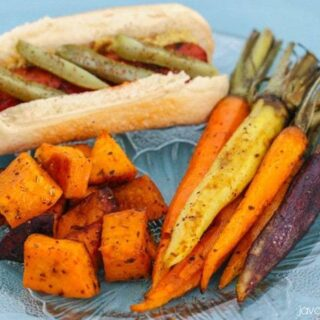 Roasted Carrots and Sweet Potatoes with Garlic Browned Butter