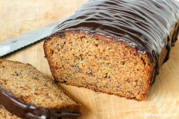 Pumpkin Banana Bread with a Chocolate Glaze