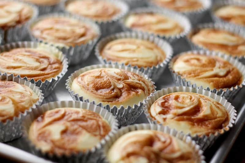 Caramel Swirl Cheesecake Cupcakes by Barefeet in the Kitchen for JavaCupcake.com