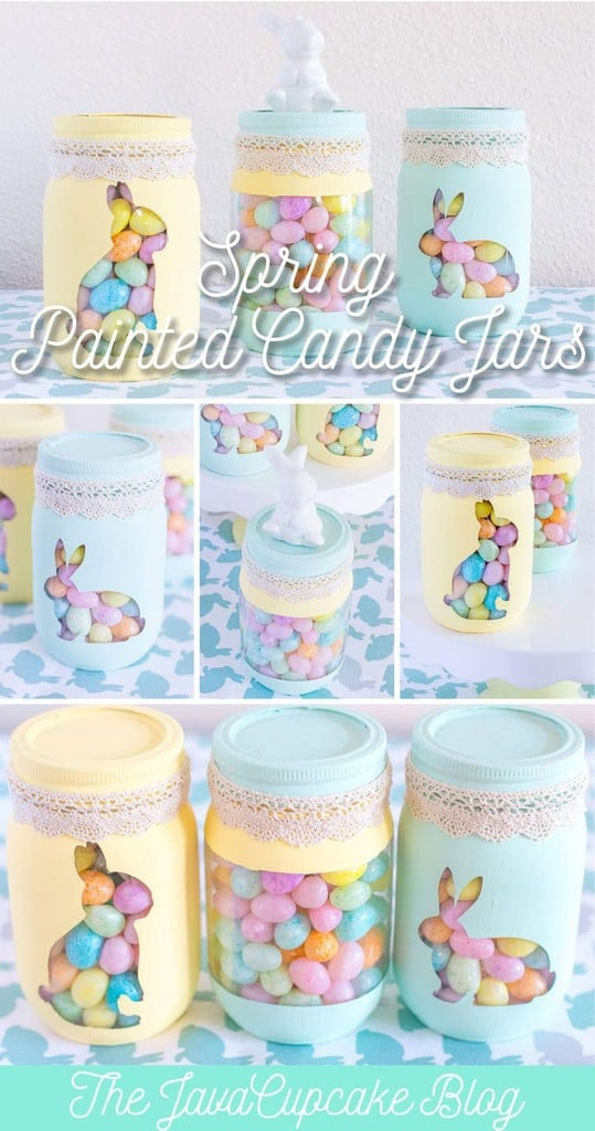 {DIY Tutorial} Spring Painted Candy Jars | The JavaCupcake Blog http://javacupcake.com