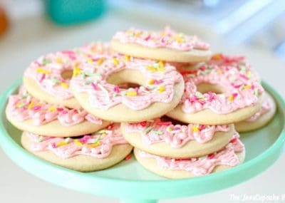 Donut Sugar Cookies - your favorite soft sugar cookie frosted with buttercream to look like a donut! | The JavaCupcake Blog http://javacupcake.com