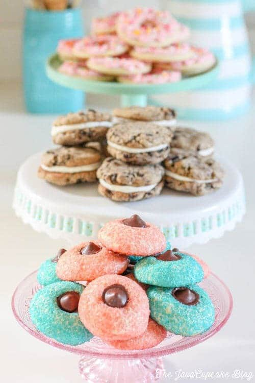 Sugar Cookie Chocolate Thumbprints - Pillowy sugar cookies rolled in sugar crystals with chocolate truffle centers | The JavaCupcake Blog https://javacupcake.com