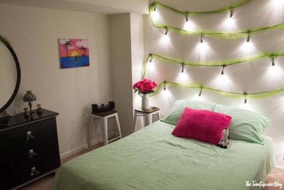 Teen Bedroom Makeover with Enbrighten Cafe Lights by Jasco | The JavaCupcake Blog http://javacupcake.com