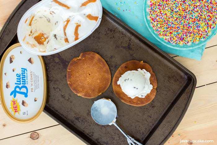 Peanut Butter Ice Cream Sandwiches   The JavaCupcake Blog https://javacupcake.com #SoHoppinGood #BlueBunny #BombPop