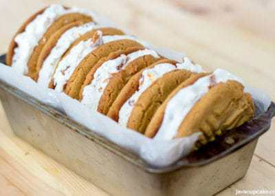 Peanut Butter Ice Cream Sandwiches | The JavaCupcake Blog https://javacupcake.com #SoHoppinGood #BlueBunny #BombPop