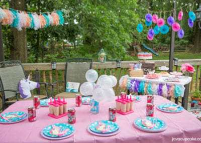 Backyard Unicorn Party inspired by Dr Pepper | The JavaCupcake Blog https://javacupcake.com