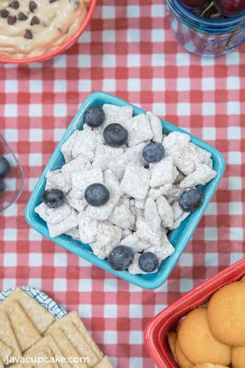 Lemon Blueberry Muddy Buddies | The JavaCupcake Blog https://javacupcake.com