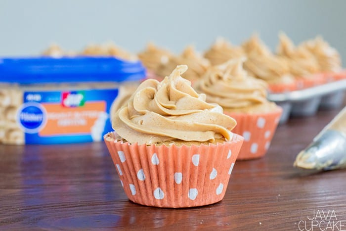 Peanut Butter Cupcakes | The JavaCupcake Blog https://javacupcake.com #ad @pillsburybaking