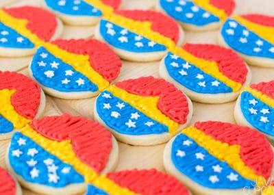 Wonder Woman Cookies - Soft sugar cookies topped with buttercream decorated as my favorite super hero, Wonder Woman! | The JavaCupcake Blog https://javacupcake.com