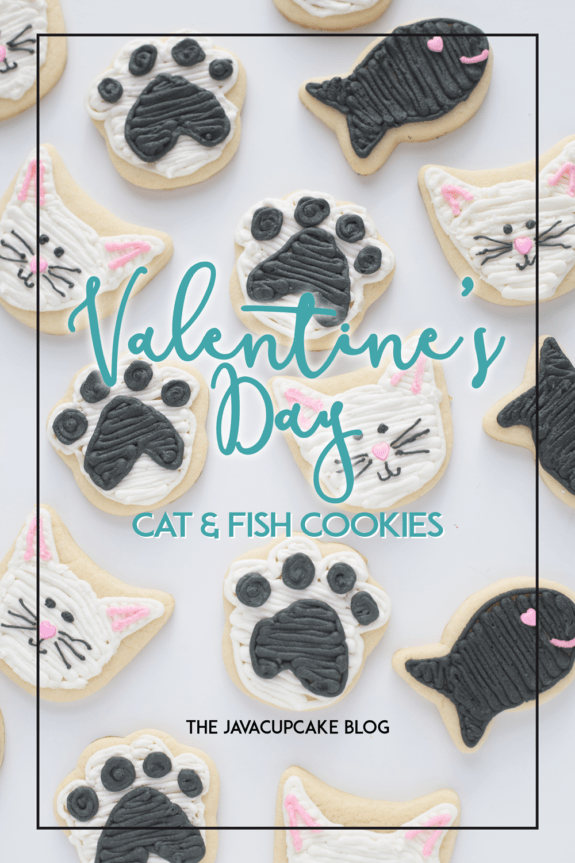 Valentine's Day Kitty & Fishy Sugar Cookies | The JavaCupcake Blog https://javacupcake.com