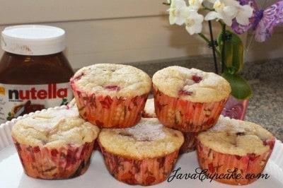 Layered Strawberry, Banana & Nutella Muffins