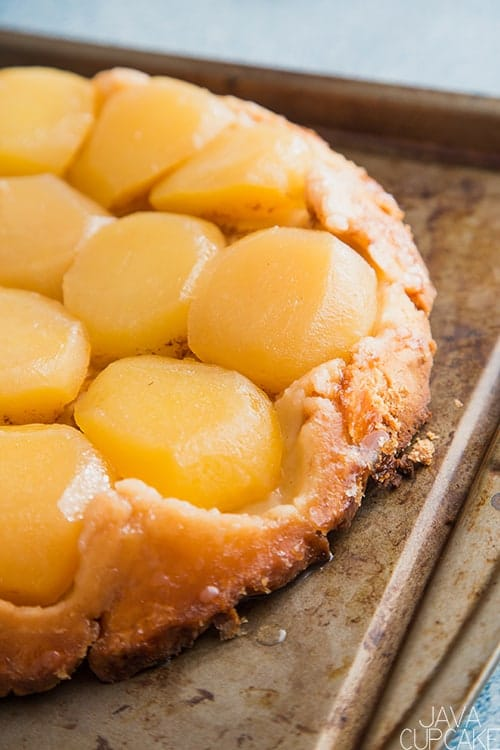 golden apple tarte on a baking sheet