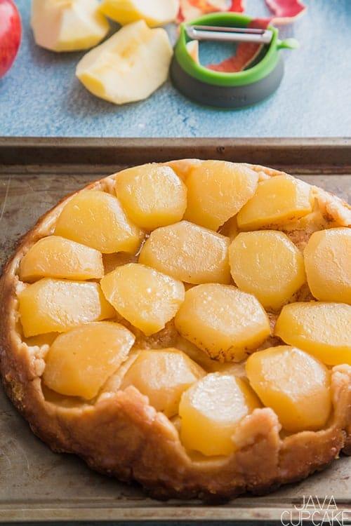 golden apple tarte on a baking sheet