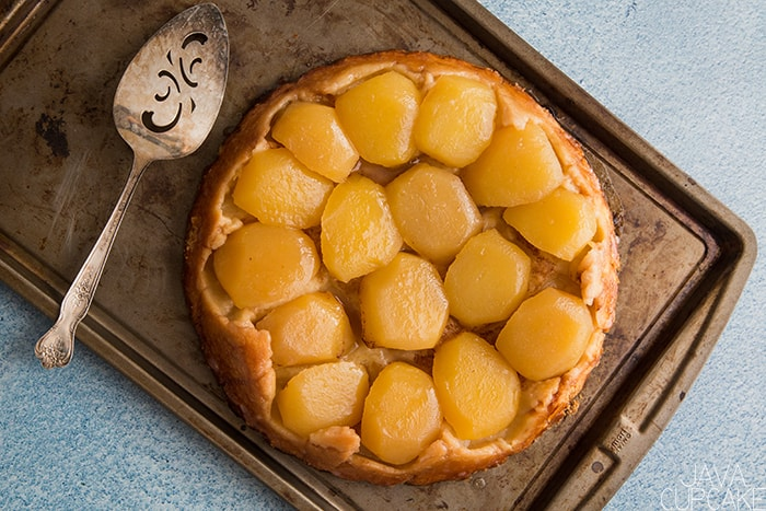 French apple tarte on a baking sheet