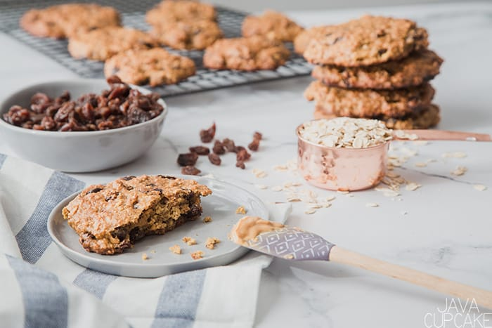 Peanut butter oatmeal cookies on a kitchen counter