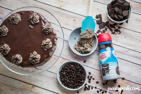 mocha cookies and cream cake with frosting in a bowl