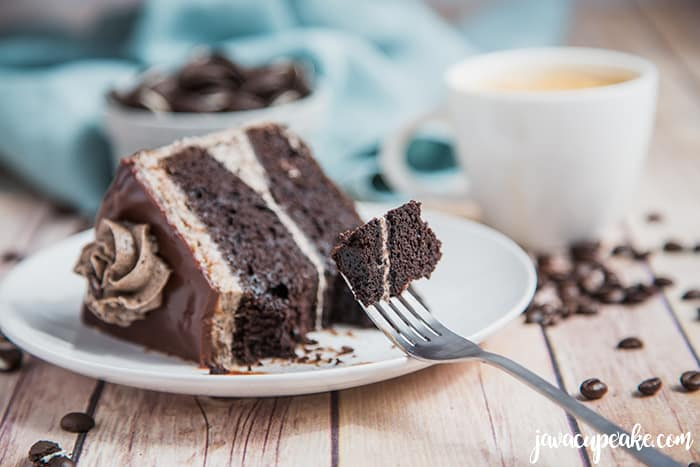 slice of mocha cookies and cream cake