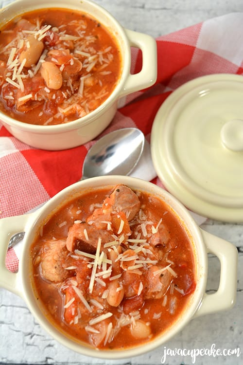Instant Pot Soup with Pork, Smoked Sausage and Beans | The JavaCupcake Blog https://javacupcake.com