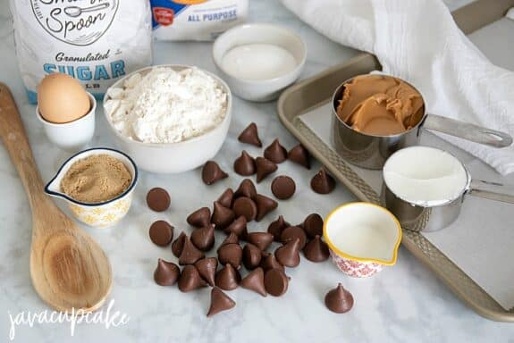 Ingredients to make Christmas tree peanut butter blossoms