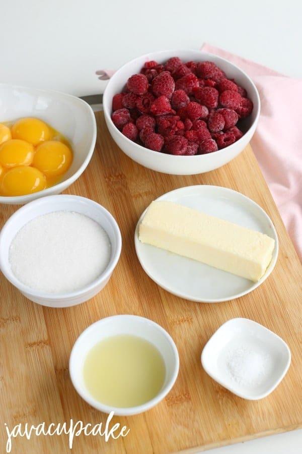 Ingredients for Raspberry Curd - egg yolks, raspberry, sugar, butter