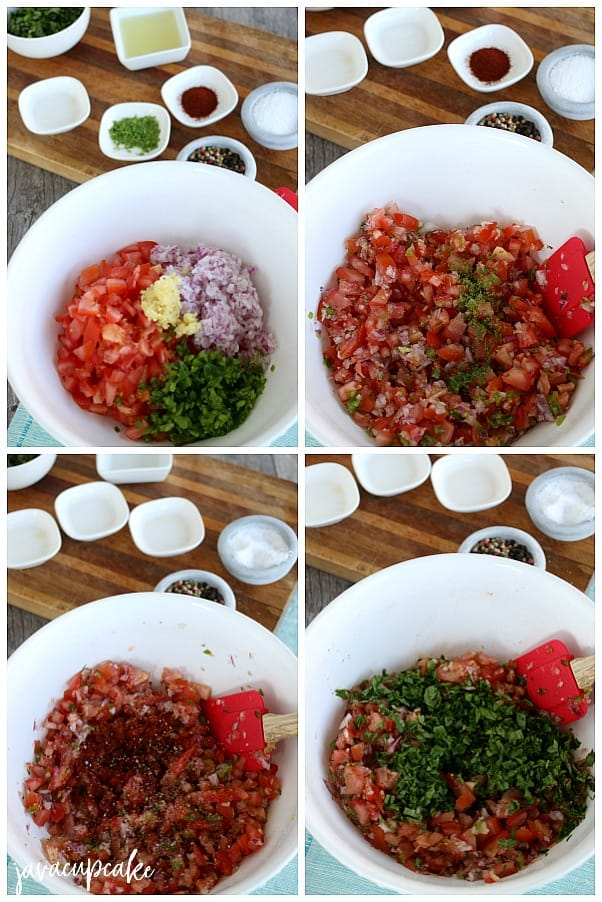 making homemade tomato salsa