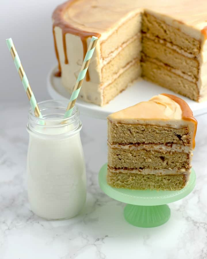 The best Salted Caramel Layer Cake with a glass of milk