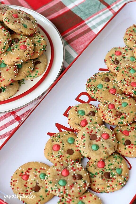 Overhead view of Christmas Chocolate Chip Cookies served in a festive Christmas tray.