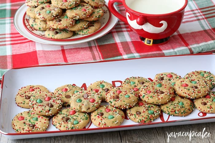 Holiday Chocolate Chip Cookies served in a festive Christmas display.