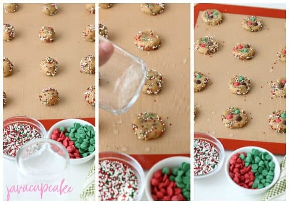 3 photo collage to show adding colored spinkles and Christmas color chocolate chips to make Christmas chocolate chip cookies.