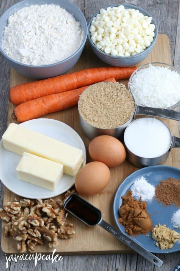 Ingredients to make Carrot Cake Cookies.