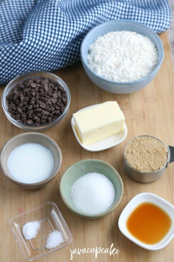 Ingredients to make cookie dough balls.