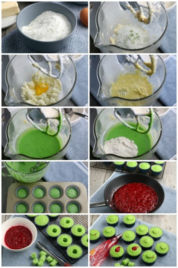Collage of the steps to make cupcakes flavored with raspberry and lime.